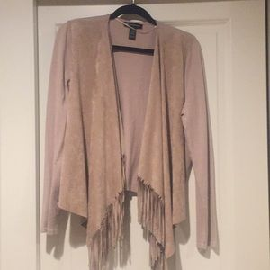 INC Intl Concepts Fringed Beige Sweater, XL